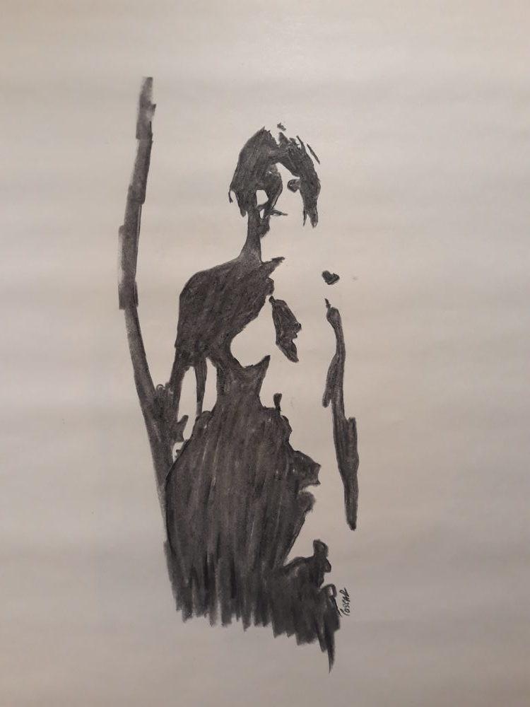 La pose debout - Fusain