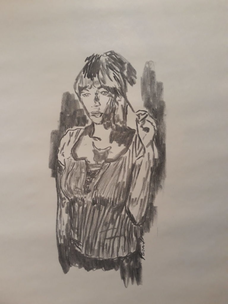 La timide - fusain